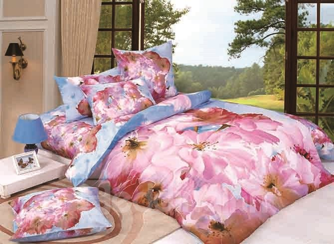 Dynamic Blooming Pink Flowers Print 4-Piece Duvet Cover Sets