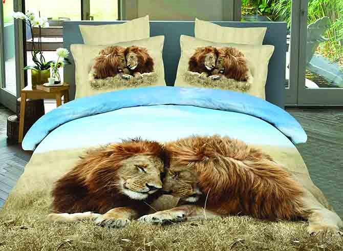 3D Snuggling Lion Couple Printed Cotton 4-Piece Bedding Sets/Duvet Covers