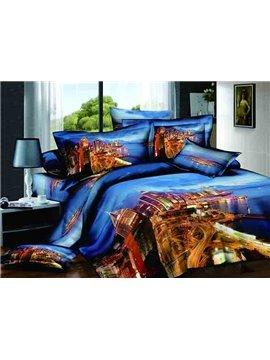 Charming City Scenery Design Blue Background 4-Piece Cotton Duvet Cover Sets