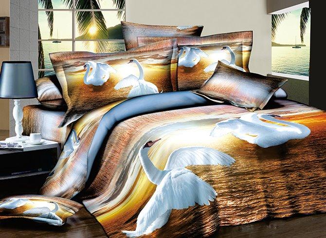 3D Fluttering White Swans Printed Cotton 4-Piece Bedding Sets/Duvet Covers