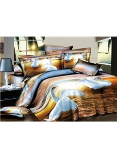 Lovely Fluttering Swans Print 4-Piece Cotton Duvet Cover Sets