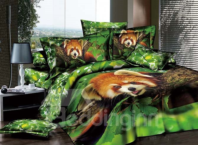 Cute Raccoon on the Tree Printing 4-Piece Green Duvet Cover Sets