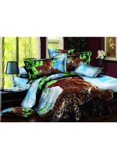 Vigorous Crouched Leopard Design 100%c Cotton 4-Piece Duvet Cover Sets