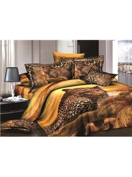 Powerful 3D Leopard Reactive Printing 4-Piece Cotton Duvet Cover Sets