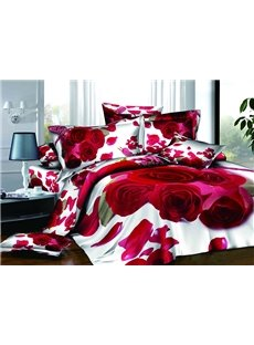 Romantic Red Rose Petals Print Super Fluffy Cotton 4-Piece Duvet Cover Sets