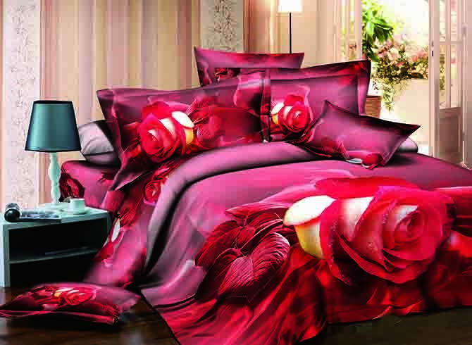 3D Single Rose Printed Cotton 4-Piece Bedding Sets/Duvet Covers