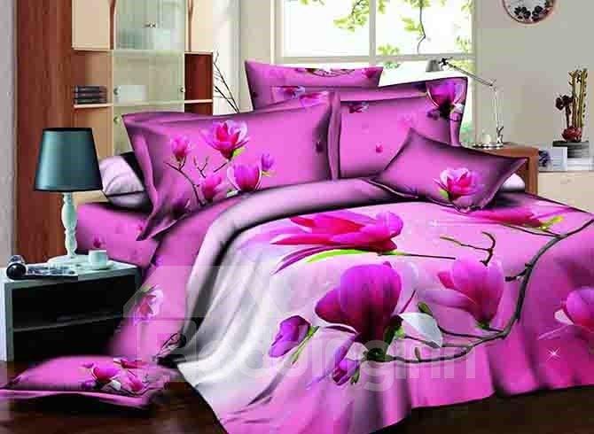 Graceful Rosy Magnolia Print Cotton 4-Piece Duvet Cover Sets