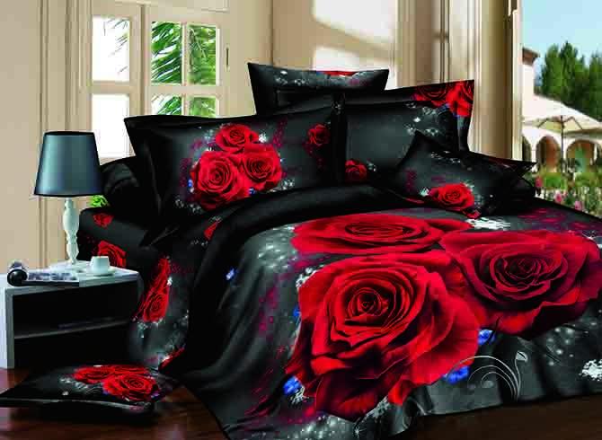 Beauteous 3D Red Rose Print 4-Piece Cotton Duvet Cover Sets
