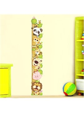Cute Cartoon Animals Climbing Tree Nursery Growth Chart Removable Wall Sticker