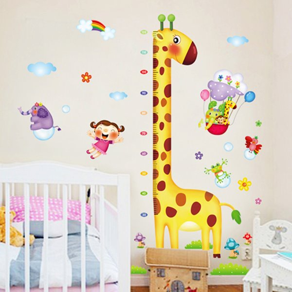 Long-Neck Cartoon Giraffe Nursery Growth Chart Removable Wall Sticker