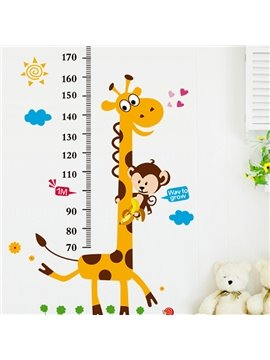 Cartoon Giraffe and Monkey Nursery Growth Chart Removable Wall Sticker