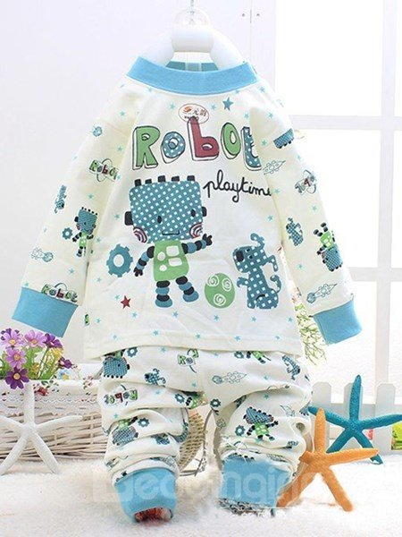 Blue Robot and Dog Play Football Print Kids Pajamas