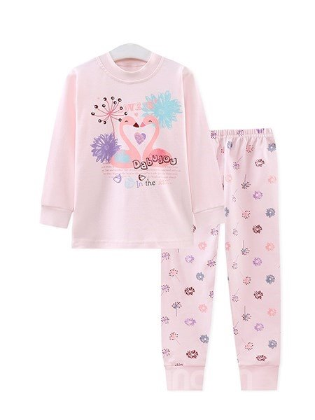 Elegant Swans and Dandelion Print Kids Pajamas