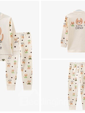Lovely Puppy Love Home Print 100% Cotton Kids Pajamas