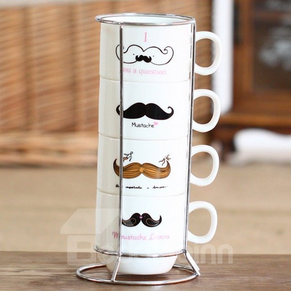 Creative Moustache 4-Piece Ceramic Coffee Mug Sets