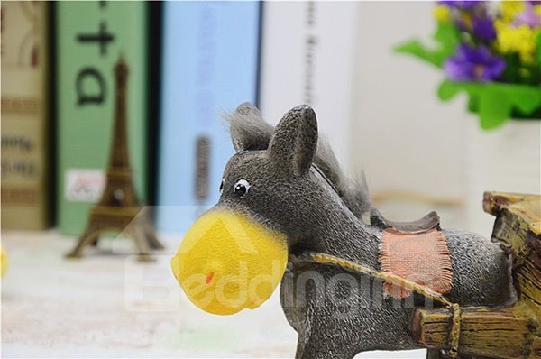 Cute Donkey Pull a Cart Resin Ashtray Desktop Decoration
