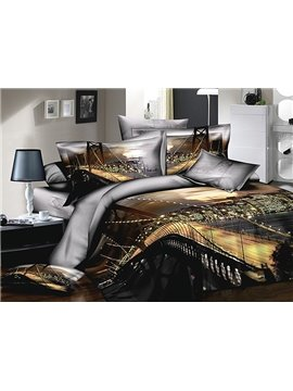 Bay Bridge Printing 4-Piece Cotton Duvet Cover Sets