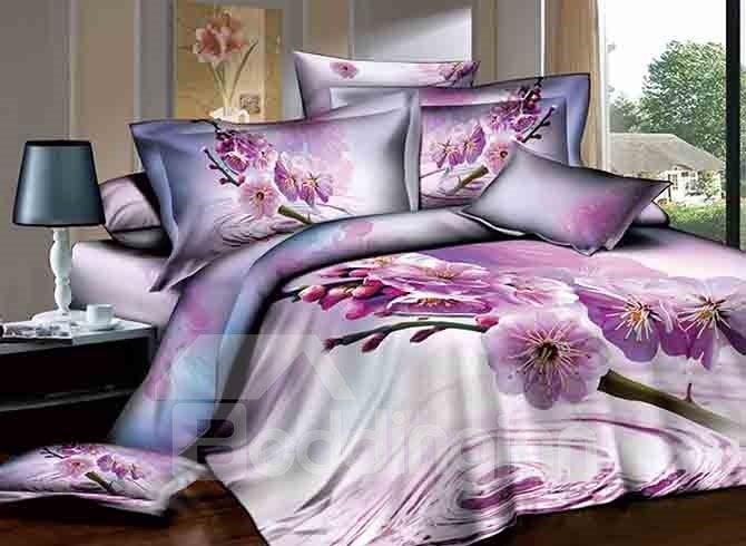 Light Purple Floral Design 4-Piece Cotton Duvet Cover Sets