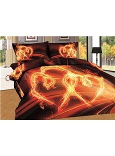 High Quality Pure Cotton Heart Print 4-Piece Duvet Cover Sets