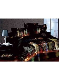 Charming City Night Scenery Print 4-Piece Cotton Duvet Cover Sets
