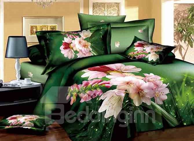 3D Dewy Pink Lily Printed Cotton 4-Piece Bedding Sets/Duvet Covers