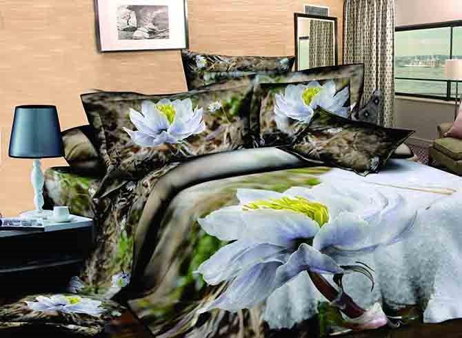 3D Snow Lotus Printed Cotton 4-Piece Bedding Sets/Duvet Covers
