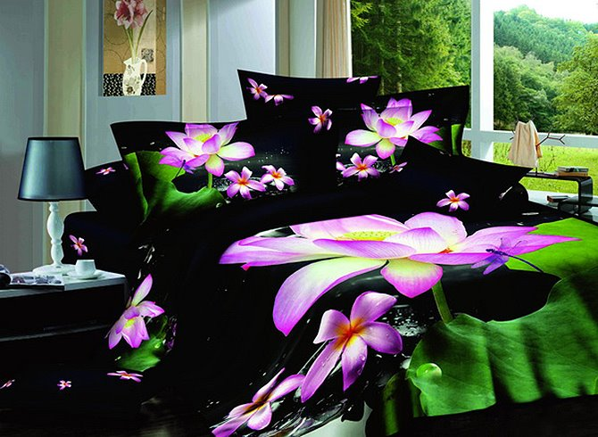 3D Pink Lotus and Dragonfly Printed Cotton 4-Piece Black Bedding Sets/Duvet Covers