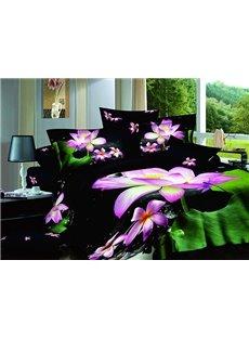 Gorgeous Graceful Lotus Pound Print 4-Piece Cotton Duvet Cover Sets
