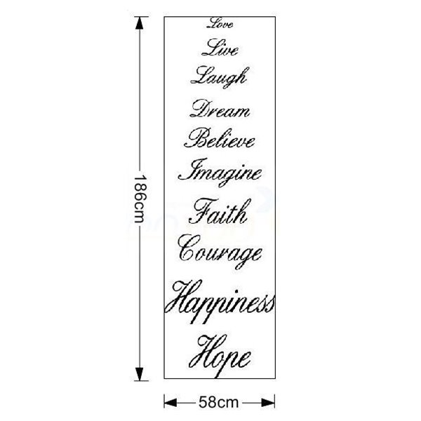30×23in Black Inspiring Words Beige Waterproof Wall/Stair Sticker