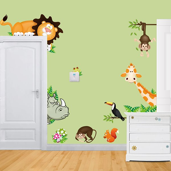 Cartoon Zoo Animal Nursery/Kids-room Wall Sticker