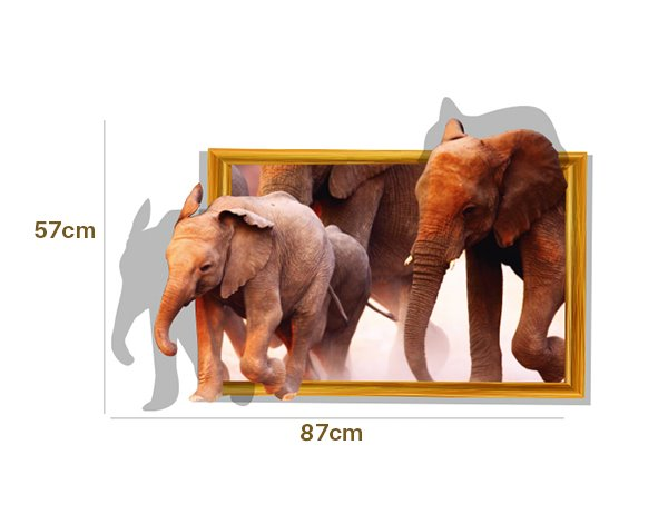Amazing Elephants Through Wall Removable 3D Wall Sticker