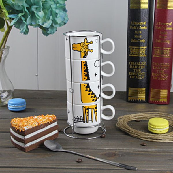 Cute Cartoon Giraffe Pattern Ceramics 4-Piece Mug Sets