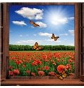Gorgeous Window View Flower Field and Butterfly Removable 3D Wall Sticker
