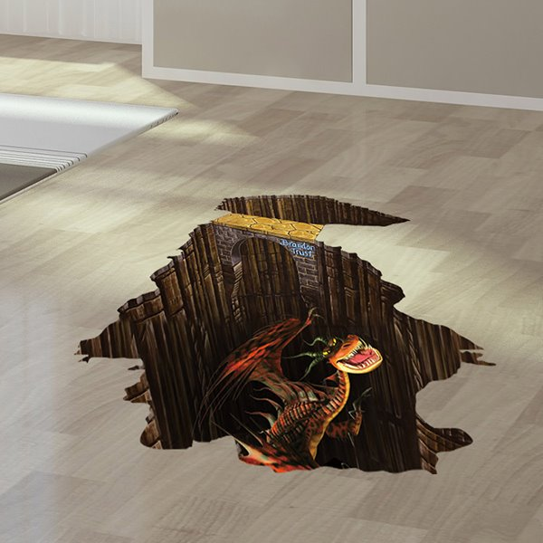 Amazing Fierce Dinosaur Floor Decoration Removable 3D Wall
