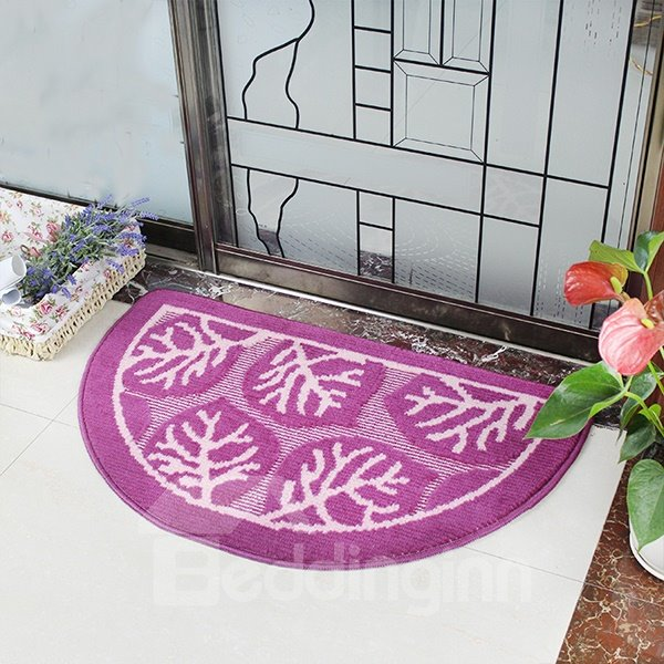 Beautiful Leaf Pattern Semi-Circle Anti-Slipping Doormat