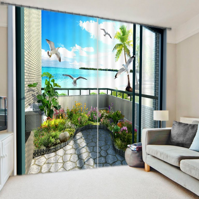 Curtain For Balcony: 3D Seagulls And Flowers With Seaside Balcony Printed