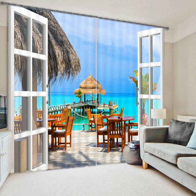 Beautiful Beach Villa Print 3D Curtain