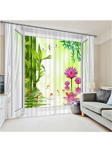 Refreshing Pink Water Lily Green Bamboo Printing 3D Curtain