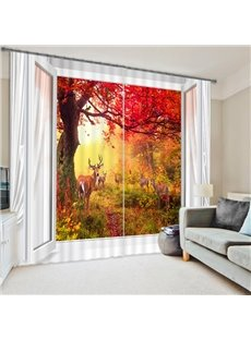 Wonderful Nature Scenery Red Tree out of the Window Printing Vibrant Color 3D Curtain