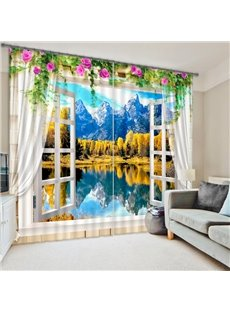 Beautiful Window View of Mountains&Forest Print 3D Curtain