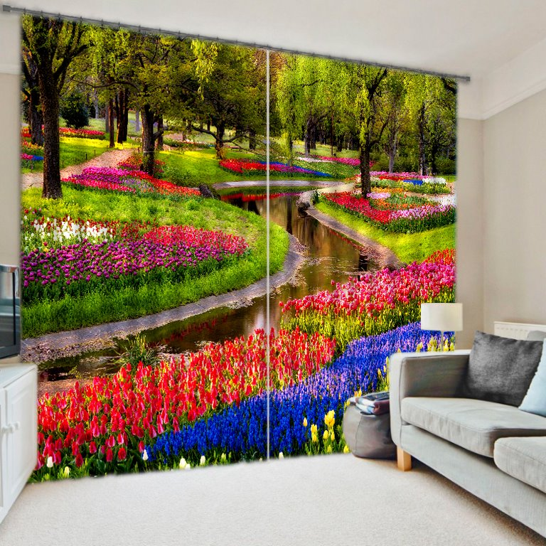 3D Colorful Flowers in Park Printed Thick Polyester Custom Blackout Curtain for Living Room
