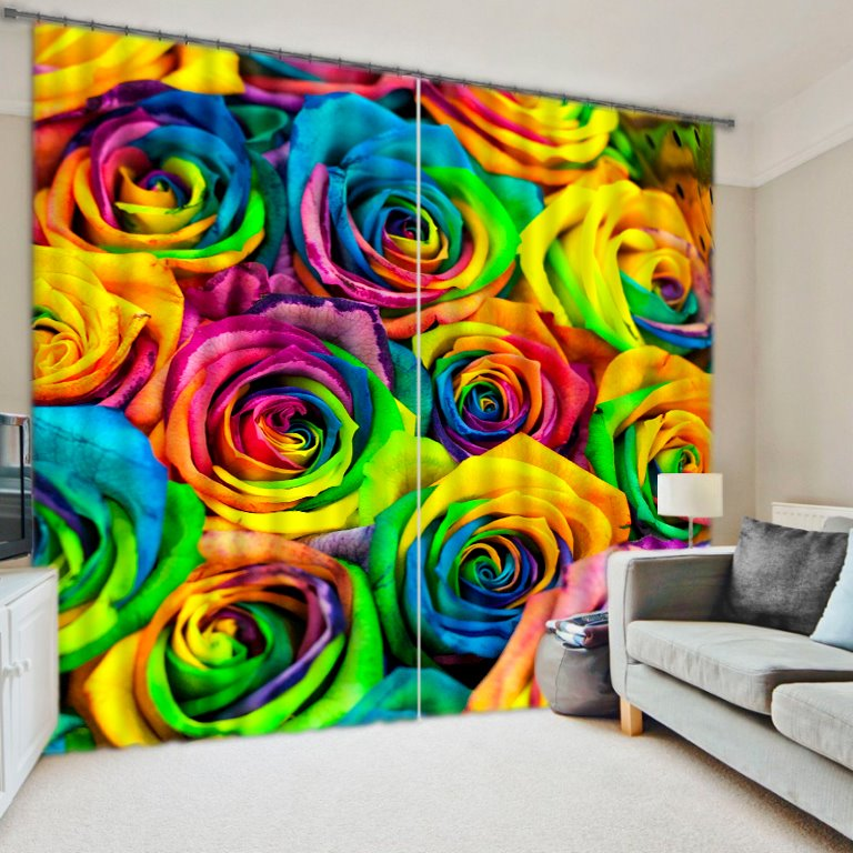 Romantic Colored Roses Printed 2 Panels Decorative 3d Curtain Pic