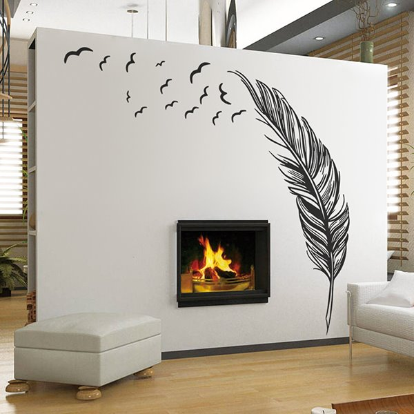 Creative Feather Pattern Bedroom TV Background Removable