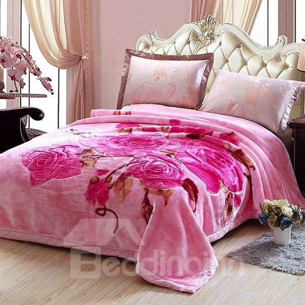 Rosy Flowers Design Warm and Thick Pink Polyester Blanket