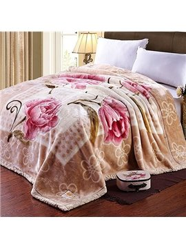Fancy Pink Flowers Print Thick Polyester Blanket