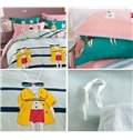 Trendy Rabbit in Sunglasses and Coat Cotton Kids Duvet Cover Set