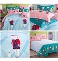 Light Blue Cute Rabbits Pattern Kids Organic Cotton Duvet Cover Set