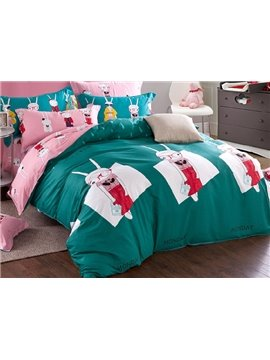 Green Rabbit in Red Dress Kids Organic Cotton Duvet Cover Set