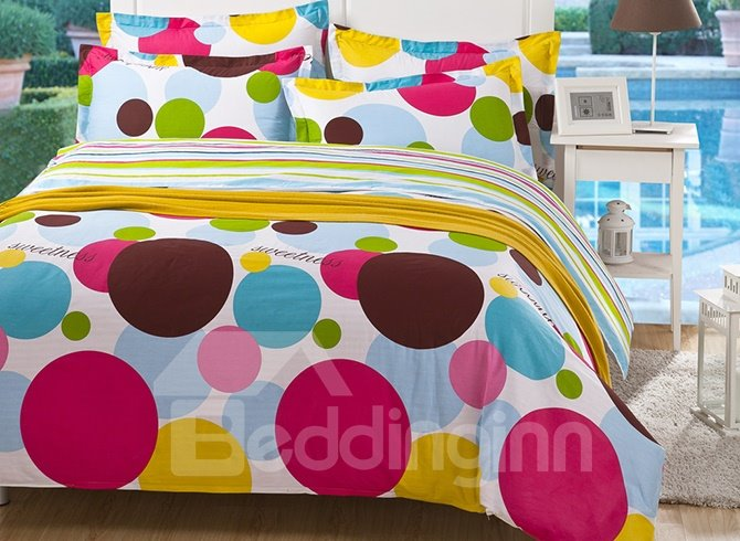 Lovely Colorful Polka Dots Kids 4-Piece Duvet Cover Set