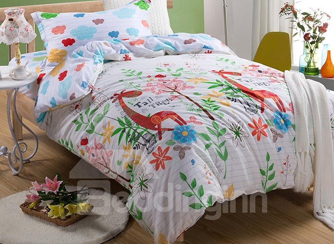 Party in Forest Animals Print Kids Cotton Duvet Cover Set